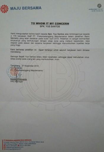 Beberapa perusahaan memberikan letter appreciation atas training basic mentality oleh Yus Santos